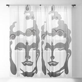 Buddha Head grey black white background Sheer Curtain