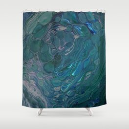 Unseen - dark teal acrylic pour abstract art Shower Curtain