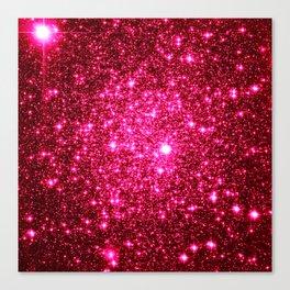 Hot Pink Glitter Galaxy Stars Canvas Print