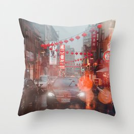 Car in Chinatown (Color) Throw Pillow