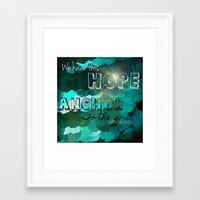 bible verse Framed Art Prints featuring Anchors- Bible Verse by Mermaid94
