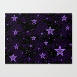 Purple Neon Stars Canvas Print