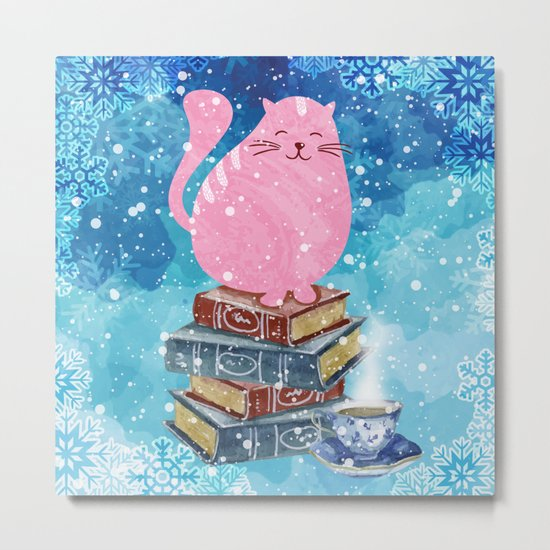 Bookish Cat in Winter Metal Print