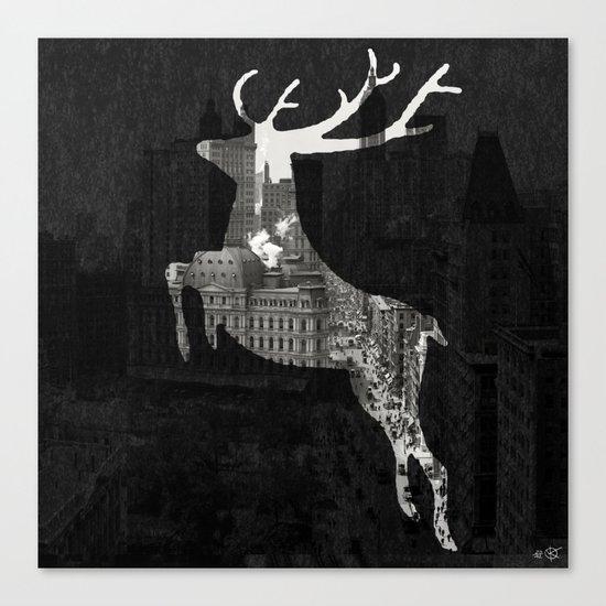 Deer City Collage 1 Canvas Print