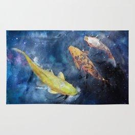 Space Koi fish watercolors Rug