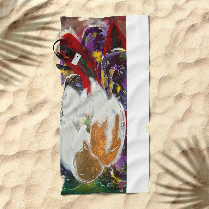 Purple Peonies in Gold with Red Beach Towel