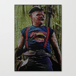 Text Portrait of Sloth with full script of the movie The Goonies Canvas Print