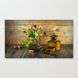 Coffee Grinder plus Jar of Beans and Tulips Canvas Print
