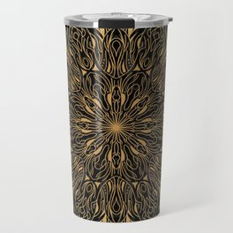 MANDALA IN BLACK AND GOLD Travel Mug