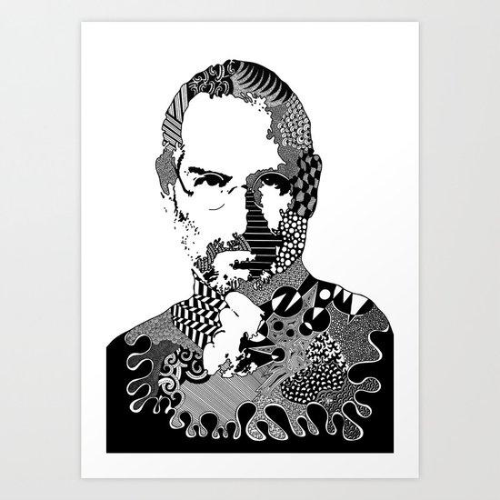 Steve Jobs Doodle Art Print