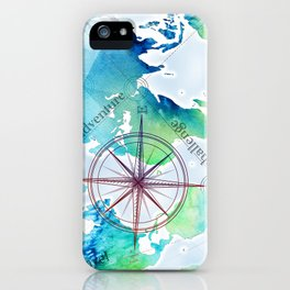 Watercolor map iPhone Case