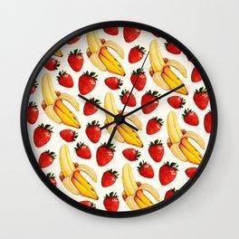 Strawberry Banana Pattern - White Wall Clock