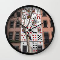 house of cards Wall Clocks featuring House of Cards by AdamSteve
