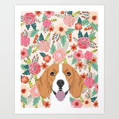 Beagle florals cute spring pet portrait dog lover gift idea beagle owners must haves flower power Art Print