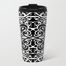 Kaleidoscope Black&White Metal Travel Mug