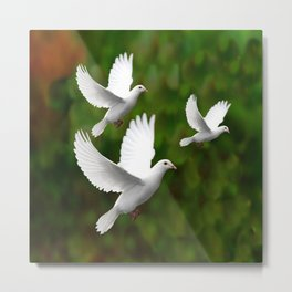 THREE CONTEMPORARY WHITE  DOVES IN GREEN Metal Print