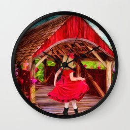 Covered Bridge Painting by Liane Wright Wall Clock