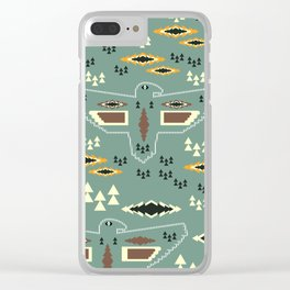 Native pattern with birds Clear iPhone Case