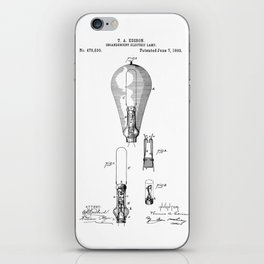 patent art Edison 1892 Incandescent electric lamp iPhone Skin