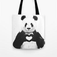 happy Tote Bags featuring All you need is love by Balazs Solti