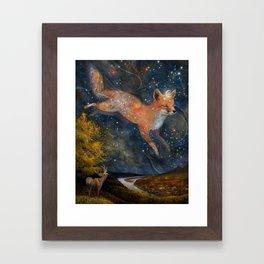 The Fox In The Starlight Framed Art Print