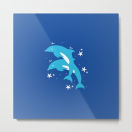 Sealife (Dolphins) - Blue Metal Print