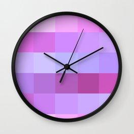 Pixels: Purple & Pink Wall Clock