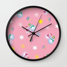 Snowflakes & Pair Snowman_B Wall Clock
