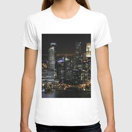 city at night lights skyline T-shirt