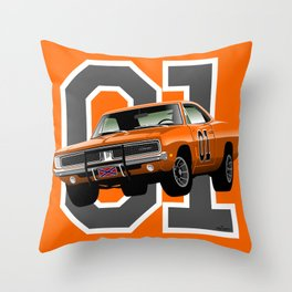 General Lee Dodge Charger Throw Pillow