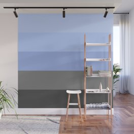 Icy Blue Gray Ombre Stripes Wall Mural
