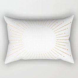 Sunburst Gold Copper Bronze on White Rectangular Pillow