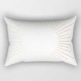 Sunburst Gold Copper Bronze on White Rectangular Pillow
