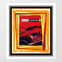 mini cooper Art Prints featuring Mini Cooper by elkart51