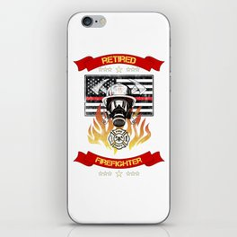Retired Firefighter Thin Red Line Professional Hero Retirement Gift iPhone Skin