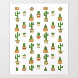 Southwestern Cactus Pattern Art Print