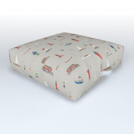 Coastal Sailing Outdoor Floor Cushion