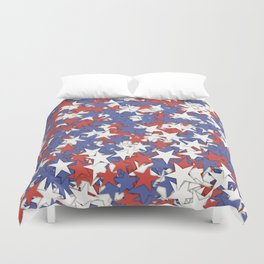Red blue white stars Duvet Cover