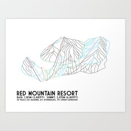 Red Mountain Resort, BC, Canada - Minimalist Trail Art Art Print