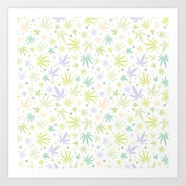 Cute Pastel Cannabis Pattern Art Print