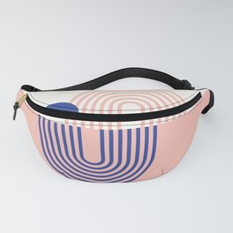 Geometric Lines in Blue Blush Pink (Sun and Rainbow Abstraction) Fanny Pack