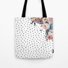 Boho Flowers and Polka Dots Tote Bag