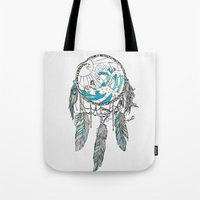 dream catcher Tote Bags featuring Dream Catcher by Huebucket
