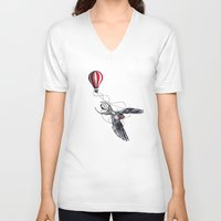swallow V-neck T-shirts featuring Swallow Travel by Jonathan Habens