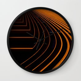 orange lines and shapes Wall Clock