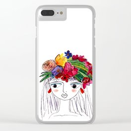 Girl with flowers in her hair Clear iPhone Case