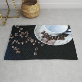 Coffee Cup with coffee Beans Rug
