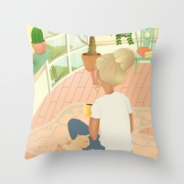 girl with cat relaxing at home looking out the window Throw Pillow