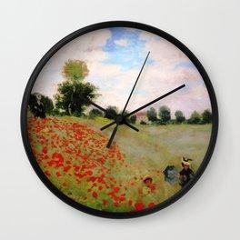 POPPIES - CLAUDE MONET Wall Clock