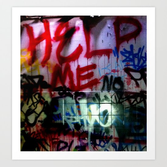 help me graffitti Art Print